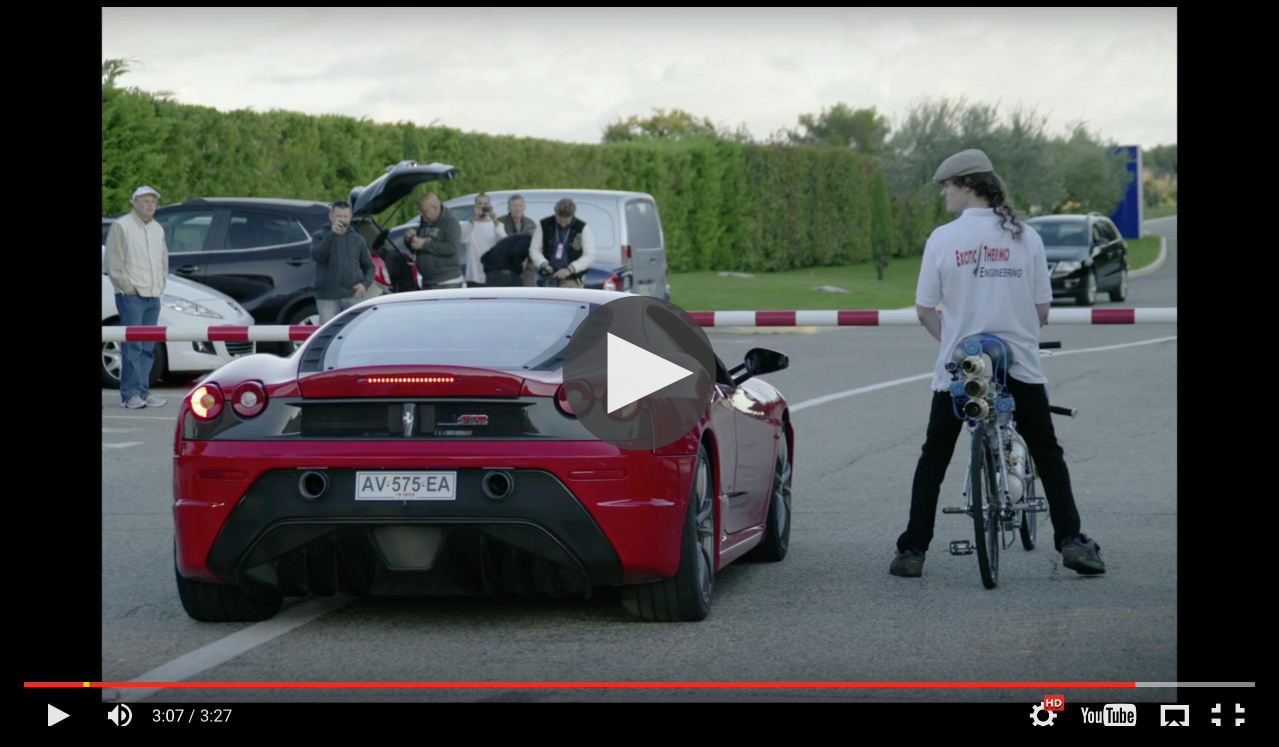 Image of 【衝撃動画】自転車がフェラーリをぶっちぎり!時速333キロの世界最速自転車